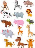 Wild animal cartoon collection — Stock Vector