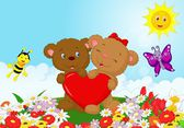 Happy bear holding red heart — Vector de stock