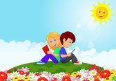 Boy and girl reading books in the flower garden — Stock Vector