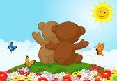 Счастливый мультипликационный медведь — Cтоковый вектор