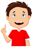 Little boy pointing with the finger — Stock Vector