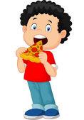 Cartoon boy eating pizza — Stock Vector