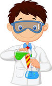 Boy doing chemical experiment — Stock Vector