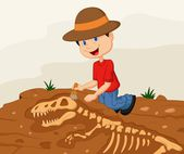 Child archaeologist excavating for dinosaur fossil — Stock Vector