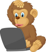 Cartoon monkey operating laptop — Stockvektor