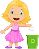 Young girl throwing trash into litter bin — Stock Vector