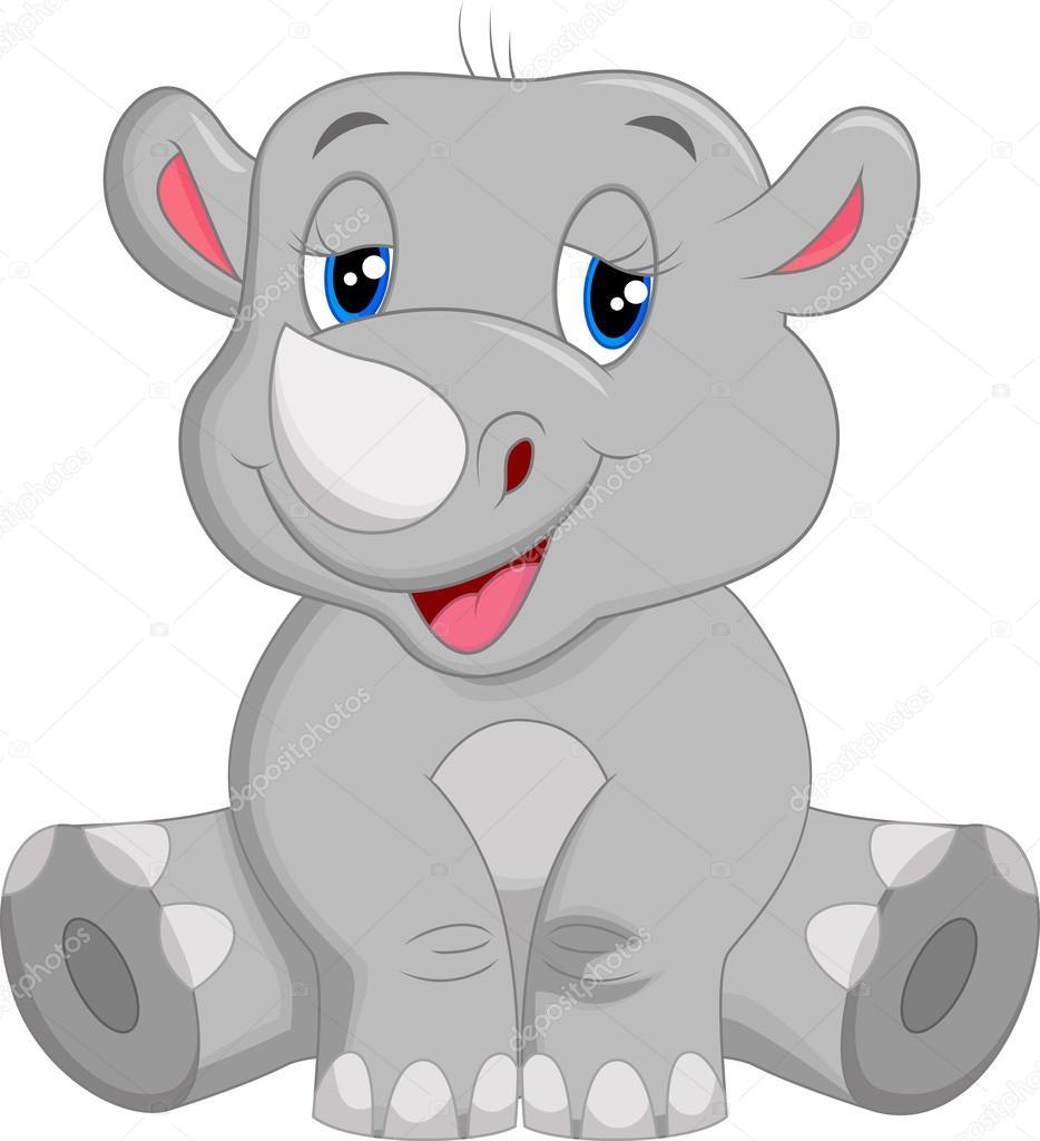 Dibujo Animado Rinoceronte Rinoceronte Feliz de Dibujos