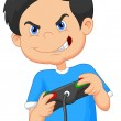 Child plays games on video game console — Stock Vector #49600153