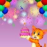 Cat with birthday cake — Stock Vector #49604369