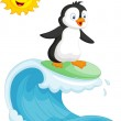 Happy penguin surfing — Stock Vector #49605377