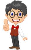 Niño de dibujos animados rindiendo pulgar — Vector de stock