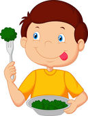 Cute little boy eats vegetable using fork — Stock Vector