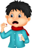 Sicked boy swallows pill — Stock Vector