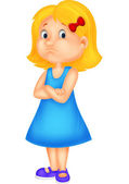 Angry little girl — Stock Vector