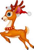 Deer with red hat — Stock Vector