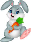 Rabbit holding carrot — Vector de stock