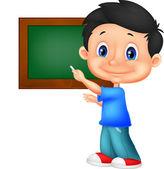 Menino de escola, escrevendo no quadro-negro — Vetor de Stock