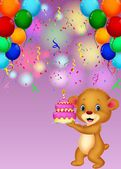 Bear holding birthday cake — Stockvector