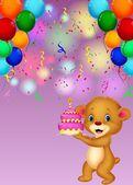 Bear holding birthday cake — Stockvector