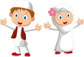 Happy Muslim kid cartoon — Stock Vector