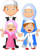 Happy Muslim family — Stock Vector