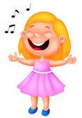 Little girl singing — Stock Vector