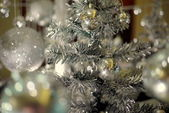 Silver decorated christmas tree — Stock Photo