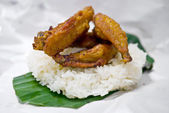 Fried chicken wing on sticky rice — Stock Photo