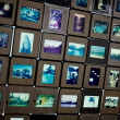 图库照片: Many old film slides display on lightbox
