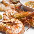 Grilled prawn with spicy paste — Stock Photo