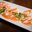 Salmon sashimi with Japanese mayonese — Stock Photo