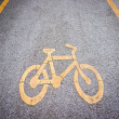 Bicycle lane with sign — Stock Photo