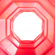 Red octagon tunnel — Stock Photo