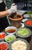 Making of Green Papaya Salad — Stock Photo
