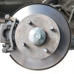 Standard car disc brake isolated on white — Stock Photo