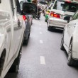 Car queue in the bad traffic road — Foto Stock