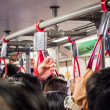 Crowded people in public transportation — Stock Photo