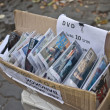 Stock Photo: Illegal movie selling on street