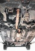 система выхлопные газы автомобилей в оранжевый цвет — Стоковое фото