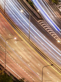 Tollway traffic in the night — Stock Photo