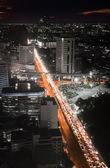 Highway traffic jam in the night — Stock Photo