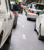 Car queue in the bad traffic road — Stock Photo