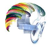 头上的多彩波。摘要的创造性思维 — 图库照片