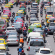 Very bad traffic in the center of Bangkok city — Stock Photo