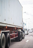 Truck with container on the road — Stock Photo