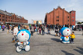 Children and visitors join the 80th anniversary and new cartoon movie of Doraemon — Stock Photo