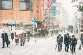 Snow storm in Yokohama, Japan — Stock Photo