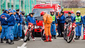 Fire fighters prepare for fire fighting show — Stock Photo