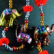 Handcrafted Elephants Rajsthani Art — Stock Photo