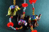 Handcrafted Elephants Rajsthani Art — Stock Photo